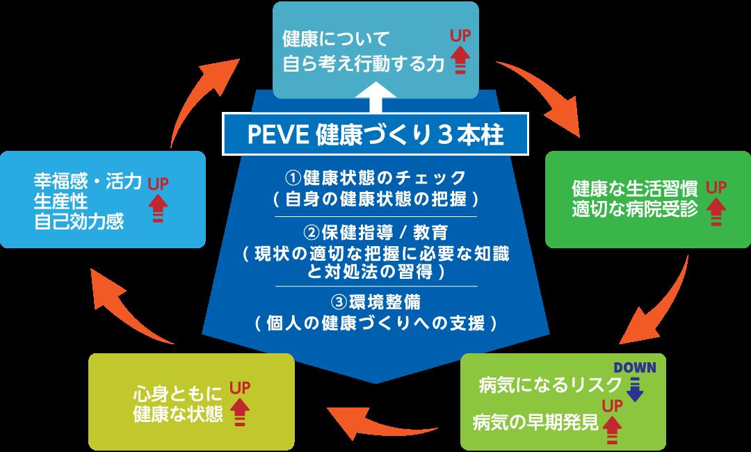 [PEVE健康づくり3本柱] ①健康状態のチェック(自身の健康状態の把握) ②保険指導/教育(現状の適切な把握に必要な知識と対処法の習得) ③環境整備(個人の健康づくりへの支援)